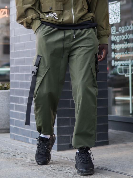 Pantalones de Carga con Correa de Hebilla de Multi-bolsillo - Verde de Jungla  S
