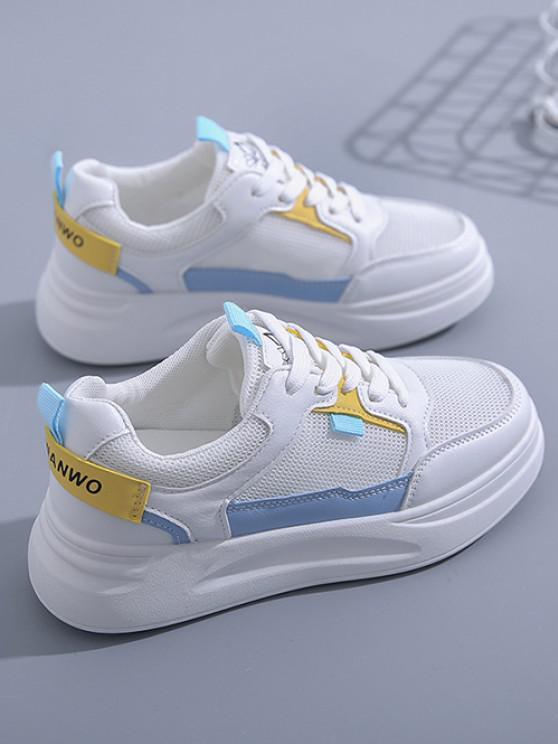 Colorblock Lace-Up Mesh Flat Sneakers - أزرق الاتحاد الأوروبي 37