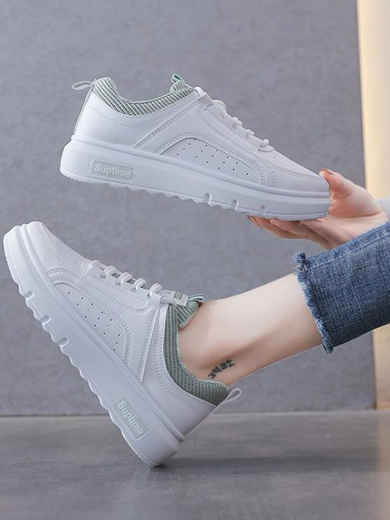Lace-Up Colorblock Breathable Flat Sneakers - أخضر الاتحاد الأوروبي 37