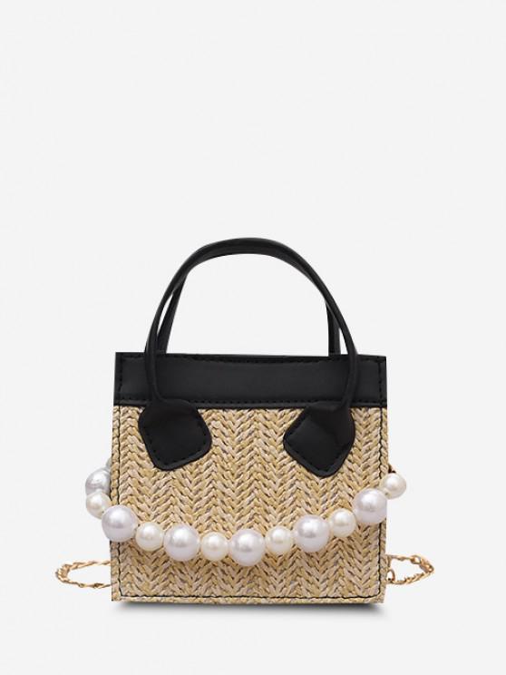 Faux Pearl Chain Woven Square Handbag - أسود