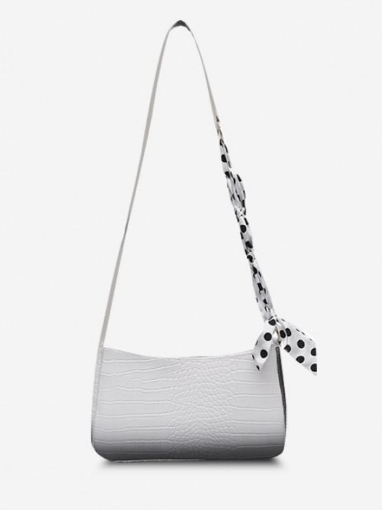 fancy Dotted Scarf-Wrapped Embossed Ombre Crossbody Bag - WHITE