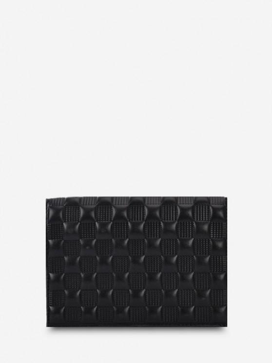 Textured Checked Chain Crossbody Bag - أسود