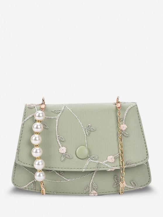 Flower Embroidery Faux Pearl Crossbody Bag - الظلام البحر الاخضر