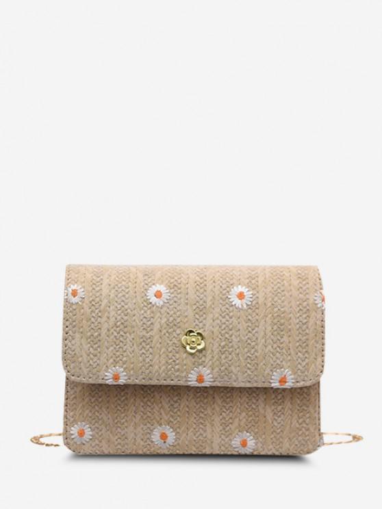 Embroidered Daisy Woven Crossbody Bag - ضوء الكاكي
