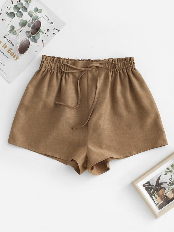 trendy ZAFUL Pull On Paperbag Shorts - COFFEE S