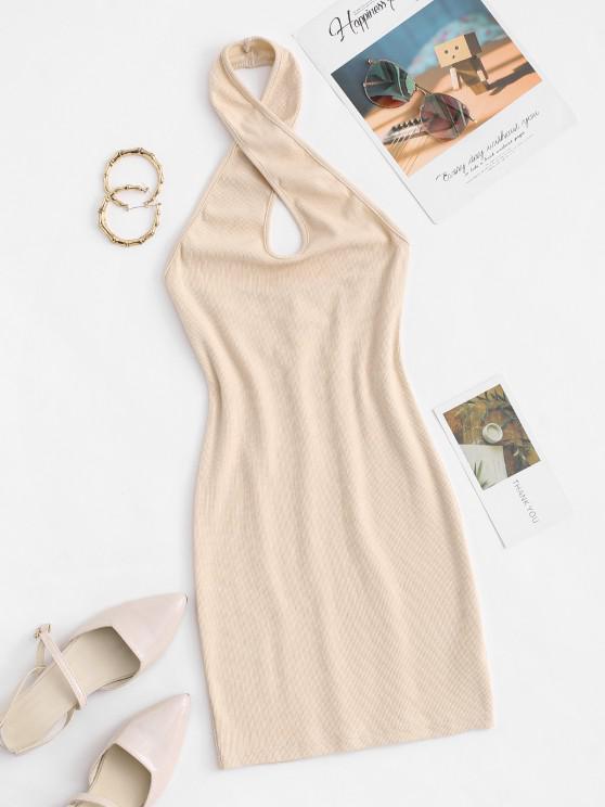 best Knitted Halter Bodycon Dress - LIGHT COFFEE S