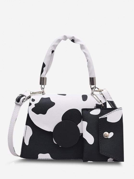 Cow Print Top Handle Crossbody Bag With Pouch - أسود