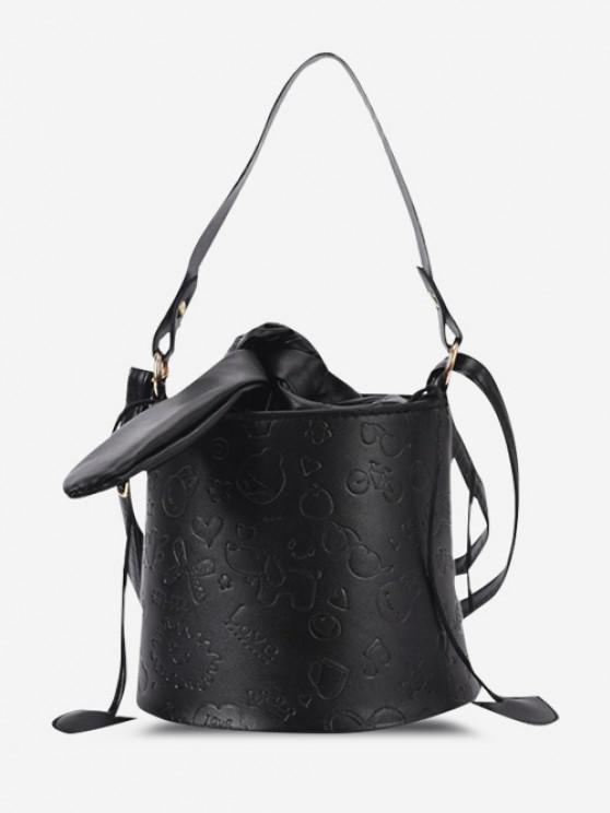 Embossed Drawstring Tied Crossbody Bucket Bag - أسود