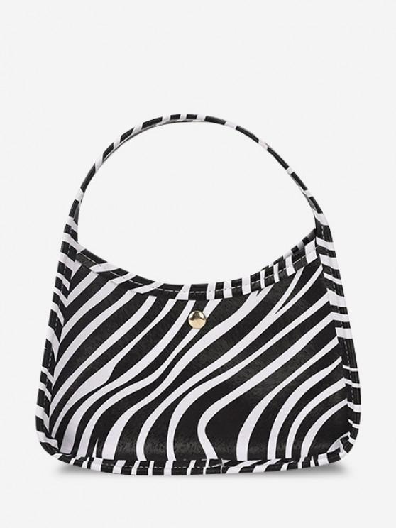 Animal Print Wide Handle Mini Handbag - أسود