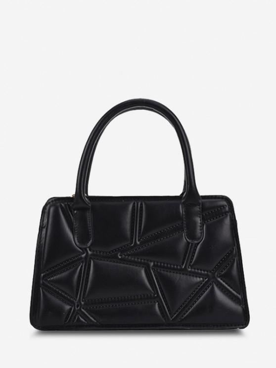 Irregular-Quilted Top Handle Chain Crossbody Bag - أسود