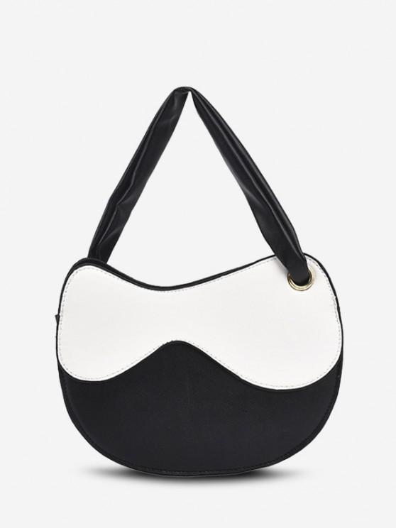 Irregular Shape Colorblock Spliced Shoulder Bag - أبيض