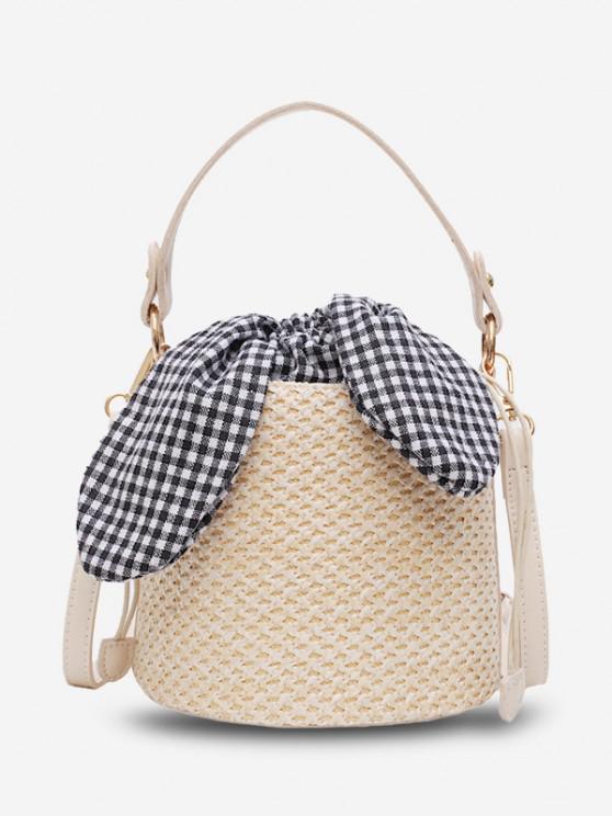 Gingham Tie Top Handle Woven Bucket Bag - اللون البيج