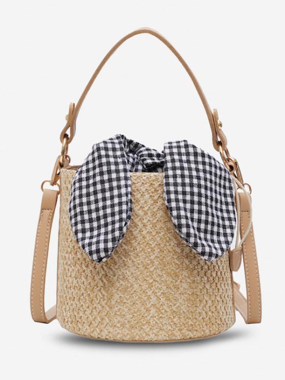 trendy Gingham Tie Top Handle Woven Bucket Bag - LIGHT KHAKI