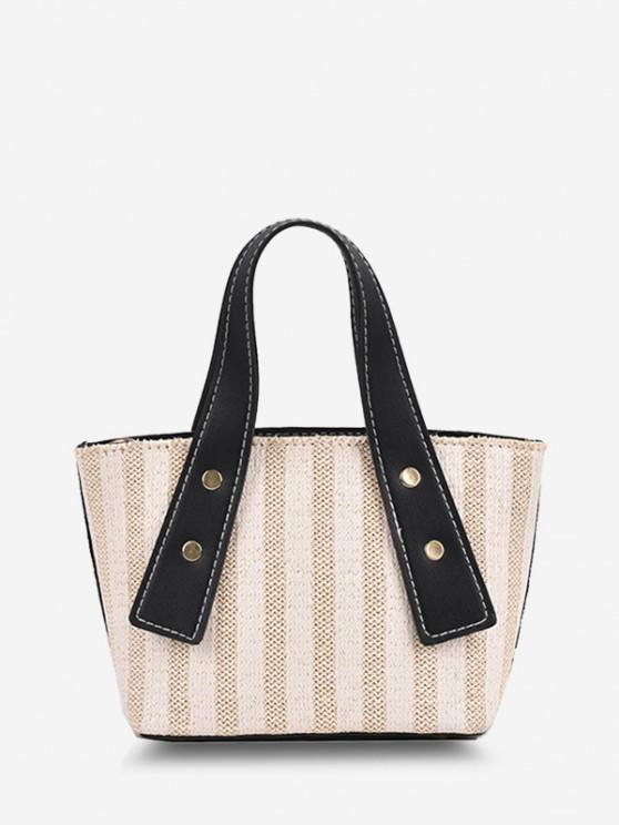 Dual Handle Woven Bucket Crossbody Bag - ليل