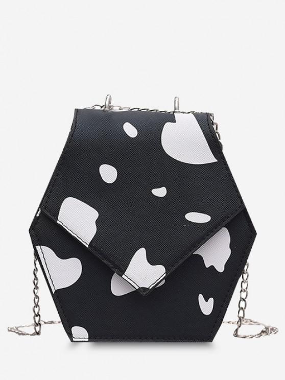Hexagonal Cow Print Chain Crossbody Bag - أسود