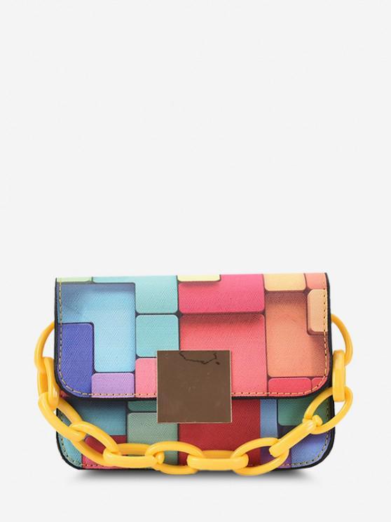 Colorblock Patchwork Print Chunky Chain Crossbody Bag - صن اصفر