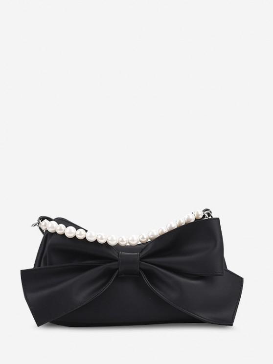 Bowknot Embellishment Faux Pearl Handle Crossbody Bag - أسود