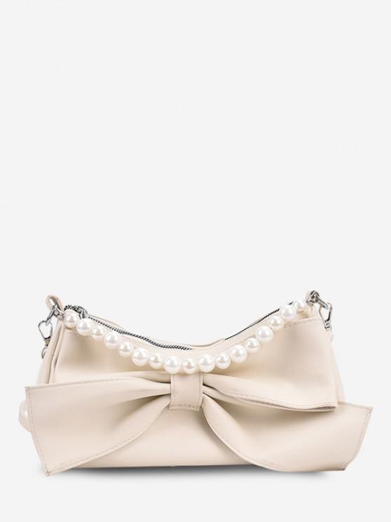 Bowknot Verschönerung Künstliche Perle Griff Umhängetasche - Weiß