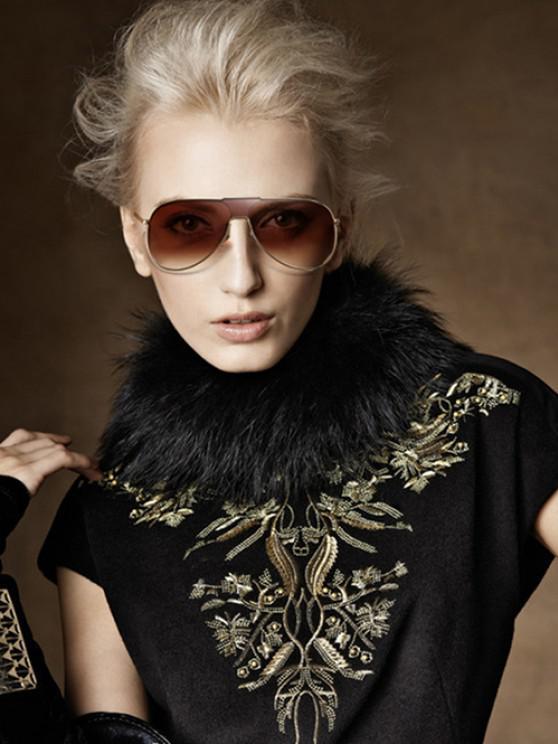 shop Metal One-piece Lens Sunglasses - BLACK
