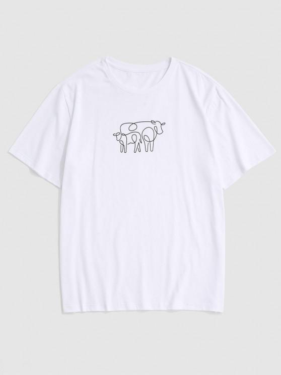 Cow Sketch Print Short Sleeve T-shirt - أبيض M