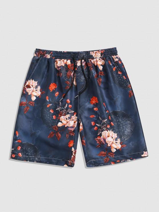 sale Vintage Flowers Print Beach Shorts - MULTI XL