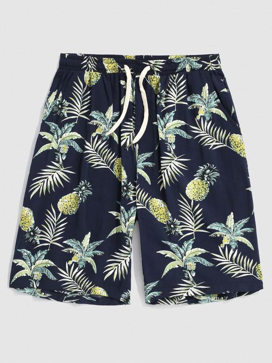 buy Pineapple Leaves Print Beach Shorts - DEEP BLUE XL