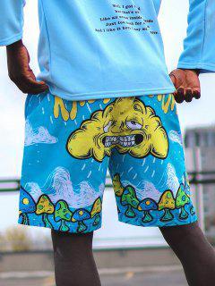 Buchstabe Wolken Pilzdruck Urlaub Shorts - Dunkles Himmelblau M