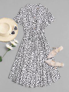 Drawstring Spotted Print Half Buttoned Midi Dress - White L