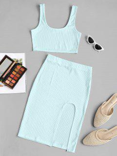 Vestido De Dos Piezas Con Thong Con Tirante Fino - Azul Claro M