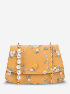 Flower Embroidery Faux Pearl Crossbody Bag - Sun Yellow