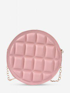 Square-Quilted Round Chain Crossbody Bag - Pink