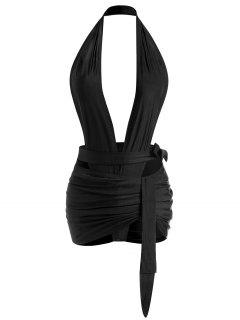 Backless Halter Wrap Top And Ruched Mini Skirt Set - Black M