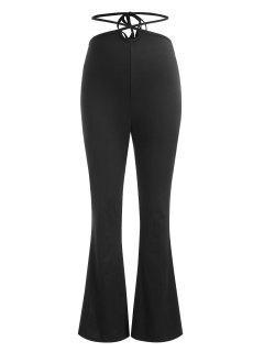 Midriff Flossing Bootcut Pants - Black L