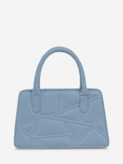 Irregular-Quilted Top Handle Chain Crossbody Bag - Sea Blue