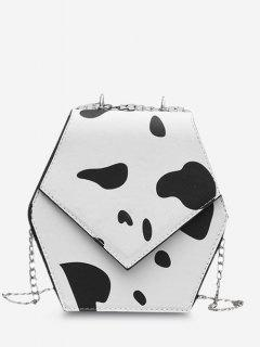 Hexagonal Cow Print Chain Crossbody Bag - White