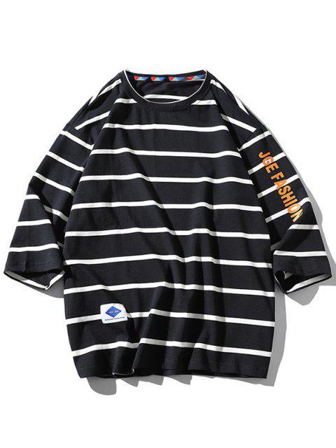 lady Letter Graphic Print Striped T-shirt - BLACK 4XL Mobile