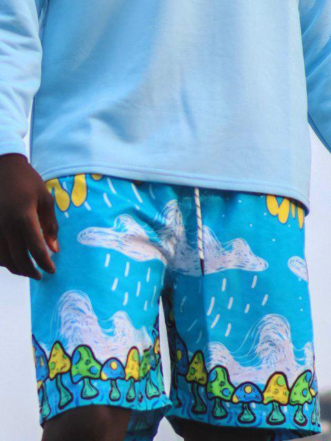buy Letter Cloud Mushroom Print Vacation Shorts - DEEP SKY BLUE L Mobile