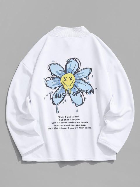 Moletom de Ombro Caído com Estampa de Flor - Branco M Mobile