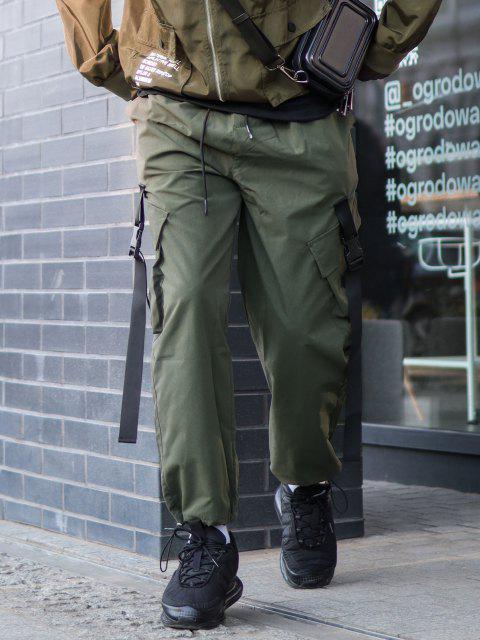 Schnallenriemen Multi Taschen Toggle Manschette Cargo Hose - Dschungel Grün XS Mobile
