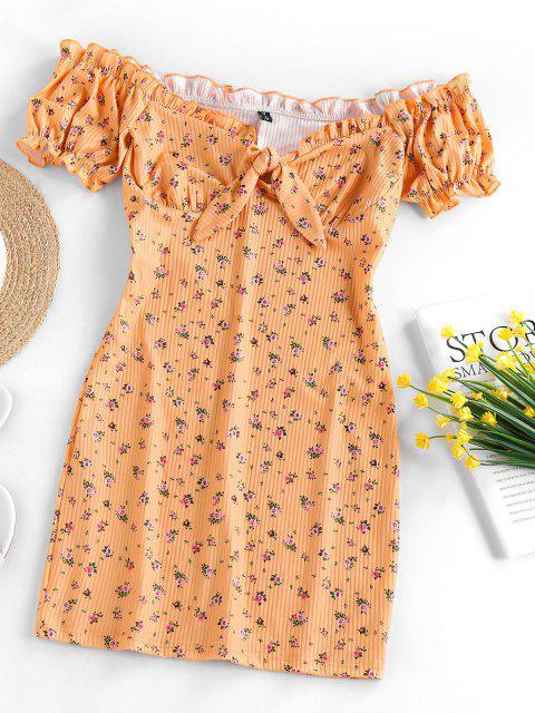 ZAFUL Geripptes Schulterfreies Kleid mit Blumenmuster - Dunkel gelb XL Mobile