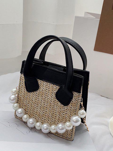 Künstliche Perle Kette Gewebte Quadratische Handtasche - Schwarz  Mobile