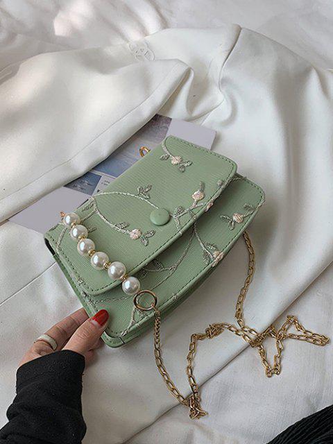 Blumenstickerei Künstliche Perle Umhängetasche - Dunkles Meergrün  Mobile