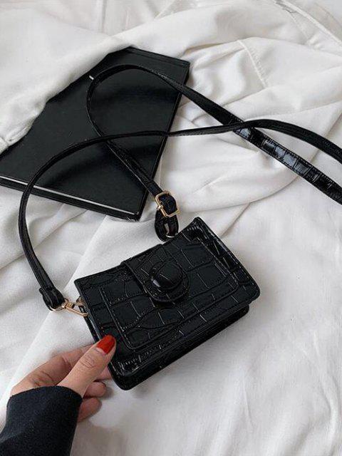 Einfarbige Geprägte Schlitz Umhängetasche - Schwarz  Mobile