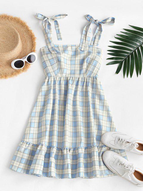ZAFUL Schulterfreies Kariertes Kittel Kleid mit Volant - Helles Blau XL Mobile