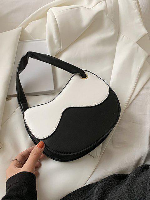 Unregelmäßige Form Farbblock Gespleißte Umhängetasche - Weiß  Mobile