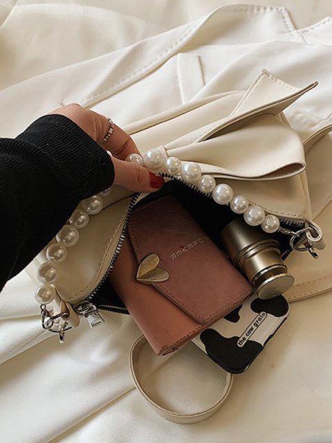 Bowknot Verschönerung Künstliche Perle Griff Umhängetasche - Weiß  Mobile