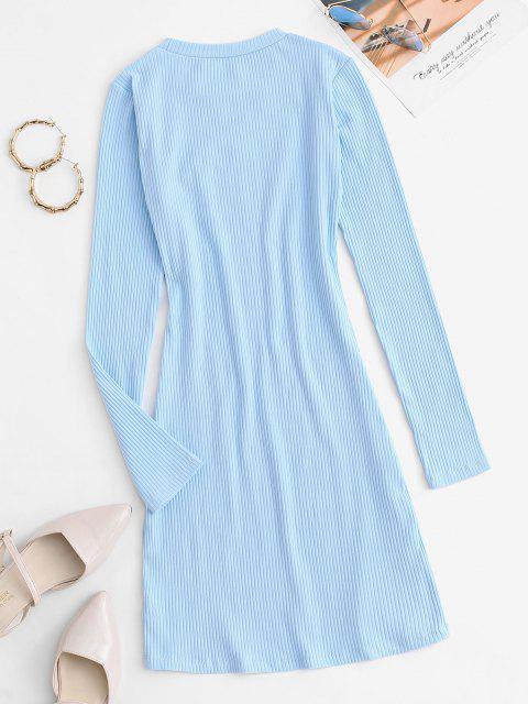 Ribbed Cutout Figurbetontes-Kleid - Hellblau M Mobile