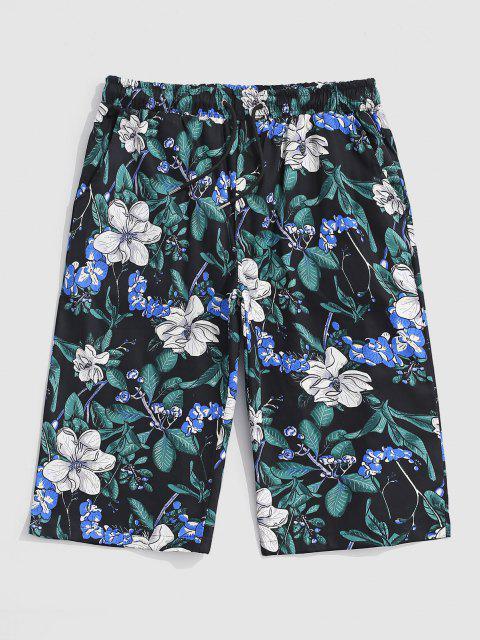 Pantaloncini da Spiaggia con Stampa a Pianta Tropicale Elastici per Fianchi - Nero XL Mobile