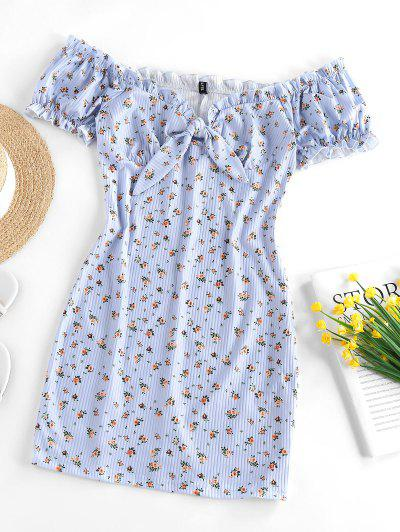 ZAFUL Ribbed Floral Tied Off Shoulder Dress - Light Blue M