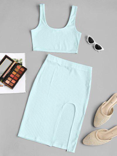 Wide Rib Split Thigh Two Piece Dress - Light Blue L